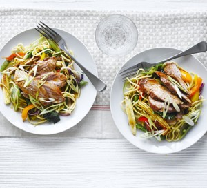 Sticky soy & honey pork with Asian noodles from BBC Good Food Recipes